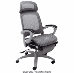 Elastic All-Mesh Reclining Office Chair w/Adjustable Sliding Seat Depth in Silver Gray