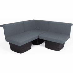 Gray Reception Group Seating -  3-Piece Corner Sofa