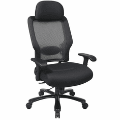 400 Lbs. Capacity Heavy Duty Black Mesh Back Executive Chair w/Headrest