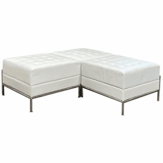 Ivory Tufted Modular 3-Piece L-Shaped Bench
