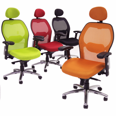 Knee-Tilt Mesh Back Ergonomic Chair w/Headrest