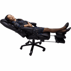 Leather Heated Massage Reclining Office Chair w/Footrest