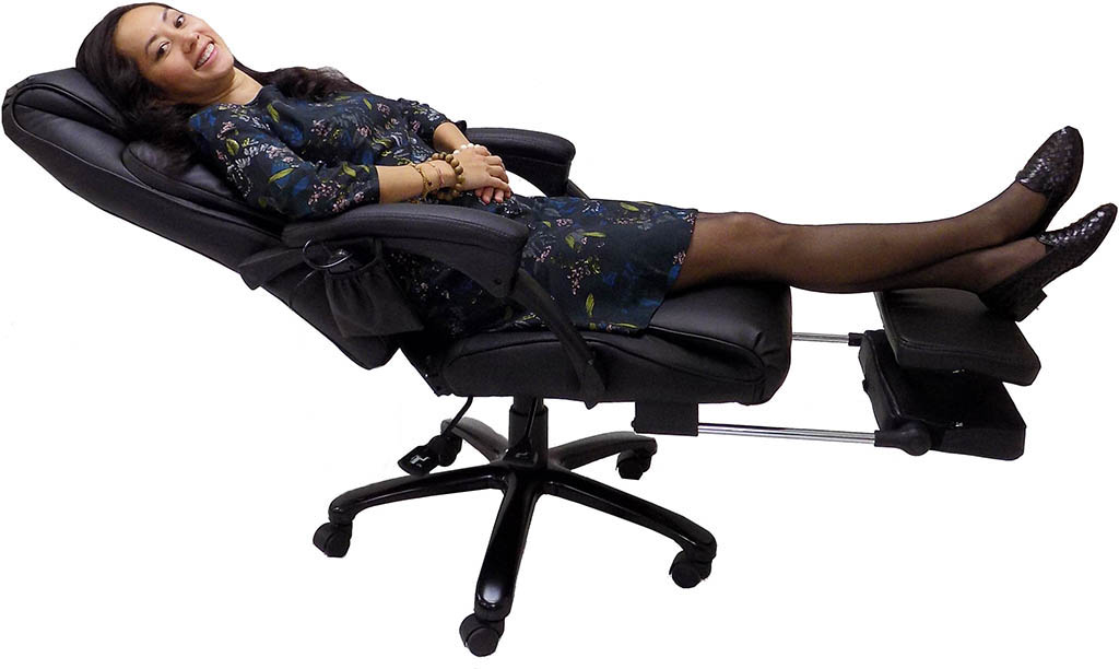 Merveilleux Leather Heated Massage Reclining Office Chair W Footrest 5.png