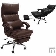 Leather Pillow-Tufted Reclining Office Chair w/Footrest