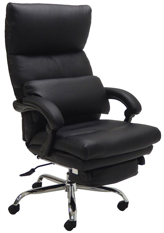 sc 1 st  InStockChairs.com & Leather Pillow-Tufted Reclining Office Chair w/Footrest