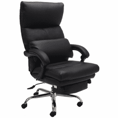 Leather Pillow-Tufted Reclining Office Chair w/Footrest in Black or Brown