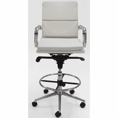 "Leather Soft Pad Office Stool w/27.5""-36"" Seat Height"