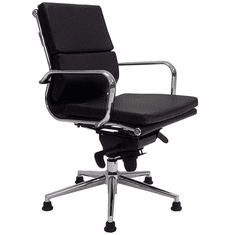 Leather Swivel Guest Chair on Glides