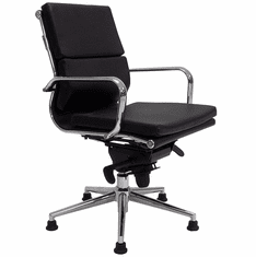 Leather Swivel Guest Chair on Glides - Black, White, Red or Brown