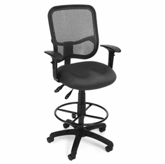 "Mesh ComfortTask Stool w/ Adjustable Arms - 23""-27""/27""-31""H Seat"