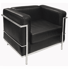 Modern Classic Black Leather Office Club Chair