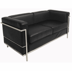 Modern Classic Black Leather  Office  Loveseat