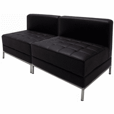 Modular Black 2-Seat Tufted Armless Loveseat