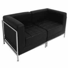 Modular Black 2-Seat Tufted Loveseat