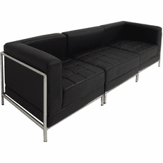 Modular Black 3-Seat Tufted Sofa