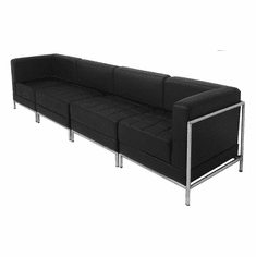 Modular Black 4-Seat Tufted Sofa