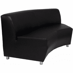 Modular  Black Leather 60 Degree Concave Sofa