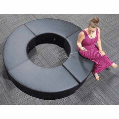 Modular Black Leather Circular Reception Bench w/Power