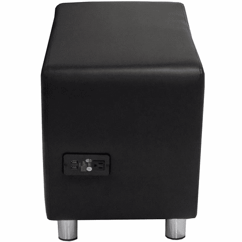 Modular Black Leather Powered & USB Charging  Ottoman