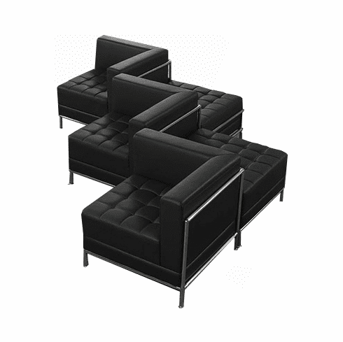 Modular Black Tufted 5-Seat Zig Zag Sofa