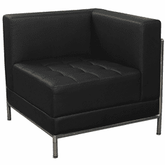 Modular Black Tufted Corner Chair