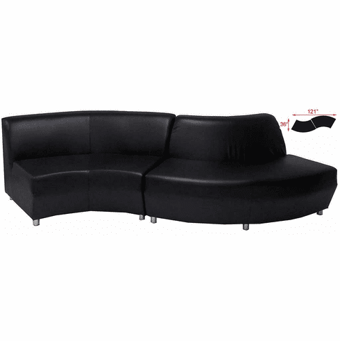 "Modular  Curved Black Leather ""S"" Shaped Sofa"