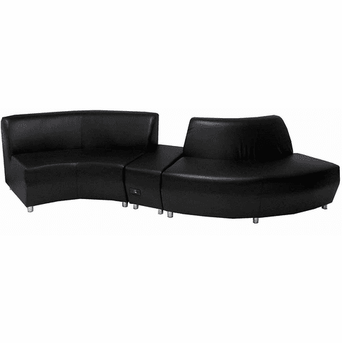 "Modular  Curved Black Leather ""S"" Shaped Sofa w/Powered USB Ottoman"