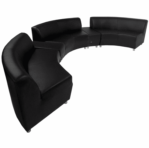 Modular  Curved Concave Black Leather 180 Degree Sofa w/2 Powered USB Ottomans