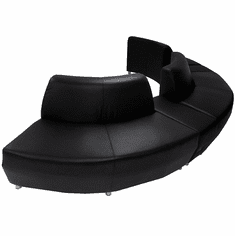 Modular  Curved Convex Black Leather 180 Degree Sofa w/2 Powered USB Ottomans