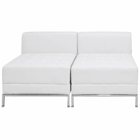 Modular White  2-Seat Tufted Armless Loveseat