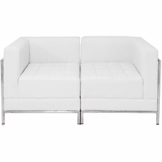 Modular White  2-Seat Tufted Loveseat