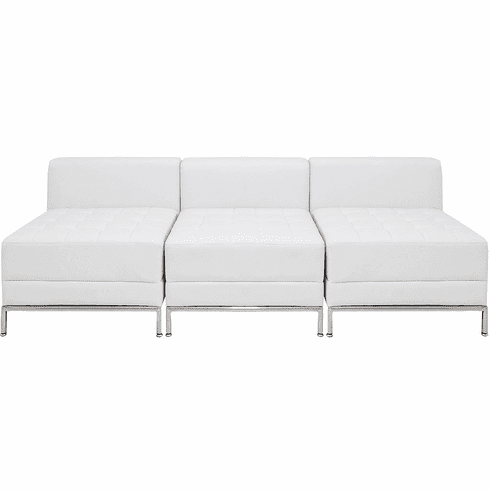 Modular White  3-Seat Tufted Armless Sofa