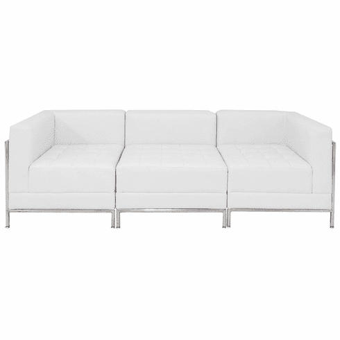 Modular White  3-Seat Tufted Sofa