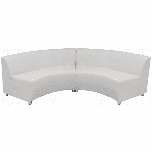 Modular White Leather Curved Concave  120 Degree Sofa
