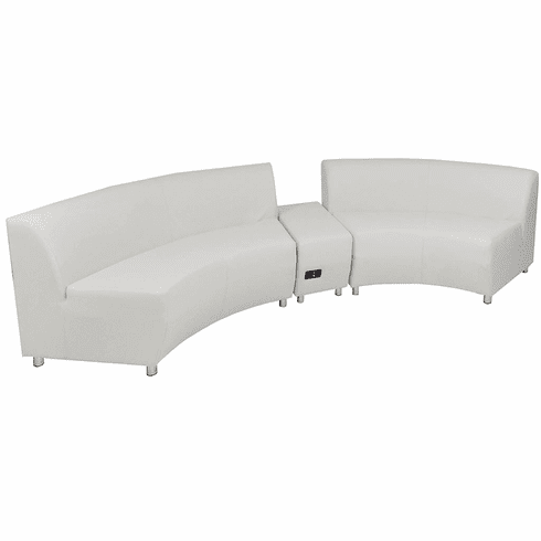 Tremendous Modular White Leather Curved Concave 120 Degree Sofa W Powered Usb Ottoman Caraccident5 Cool Chair Designs And Ideas Caraccident5Info