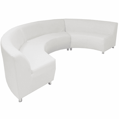 Modular White Leather Curved Concave  180 Degree Sofa