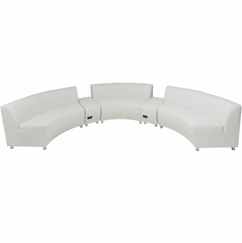 Modular White Leather Curved Concave  180 Degree Sofa w/2 Powered USB Ottomans