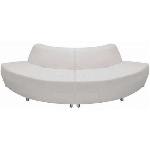 Modular White Leather Curved Convex 120 Degree Sofa