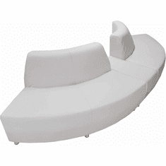 Modular White Leather Curved Convex  120 Degree Sofa w/Powered USB Ottoman