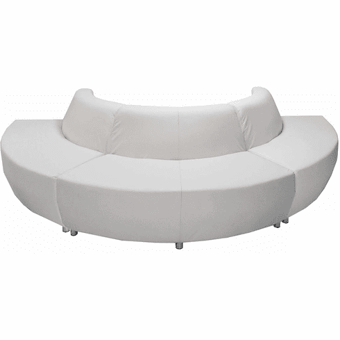 Modular White Leather Curved Convex 180 Degree Sofa