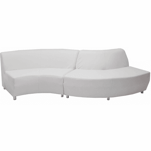 """Modular White Leather Curved  """"S"""" Shaped Sofa"""