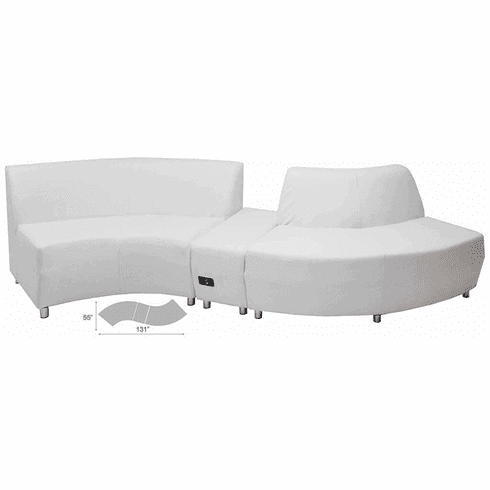 "Modular White Leather Curved  ""S"" Shaped Sofa w/Powered USB Ottoman"