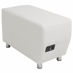 Modular White Leather Powered & USB Charging Ottoman