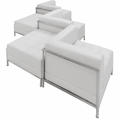 Modular White  Tufted 5-Seat Zig-Zag Sofa
