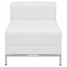 Modular White Tufted Armless Chair