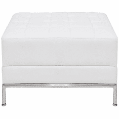 Modular  White Tufted Backless Bench