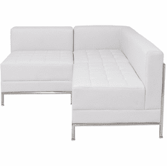 Modular White  Tufted L-Shaped Sofa