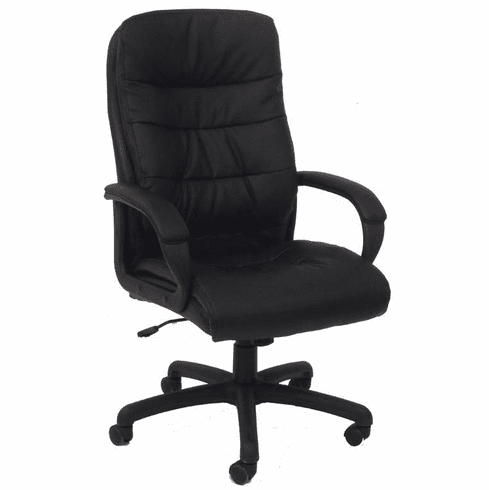 PlushTuft Black Leather Executive Office Chair