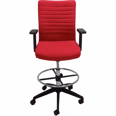 """Red RetroTasc Height Adjustable Office Stool w/23""""-30"""" Seat Height"""