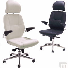 Romana Office Chairs in White or Black Leather